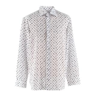 Donato Liguori White Floral Linen Tailored Long Sleeve Shirt