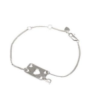 Dior Heart Cut-Out Silver Tone Charm Bracelet
