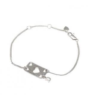 Dior Heart Cut-Out Silver Tone Charm Bracelet