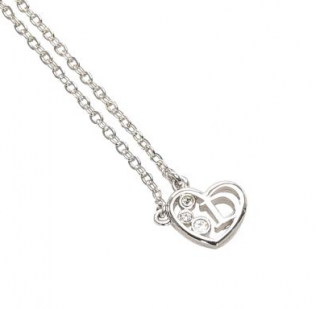 Dior Crystal Heart D Pendant Necklace