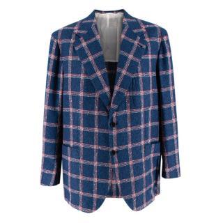 Donato Liguori Red & Blue Check Cotton Blend Tailored Blazer Jacket