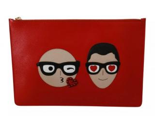 Dolce & Gabbana Red DG Family Patch Pouch