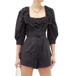 Self Portrait Ruffled Tie-back Belted Cotton Playsuit