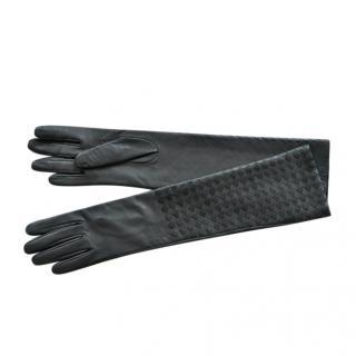 Bottega Veneta Black Intrecciato Leather Long Gloves