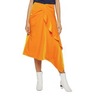 Self Portrait Yellow Velvet Ruffle Midi Skirt