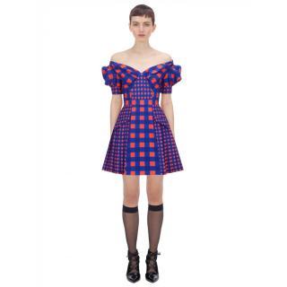 Self Portrait Off Shoulder Gingham Printed Dress