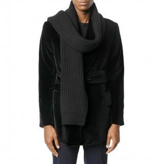 Dolce & Gabbana black virgin wool cable scarf