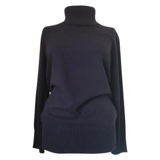 MaxMara navy virgin wool and cashmere roll neck jumper
