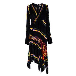 Peter Pilotto Multicoloured Black V-Neck Wrap Style Dress