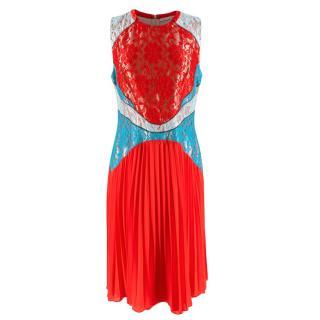 Christopher Kane Red & Blue Lace Paneled Pleated Midi Dress