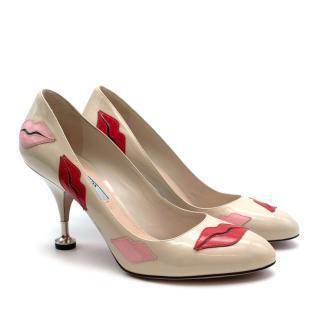 Prada Beige Lips Applique Kitten Pin Heel Pumps
