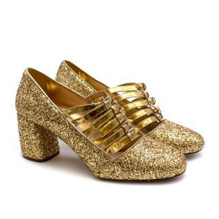 Miu Miu Golden Glitter Leather Strappy Pumps