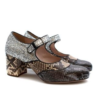 Miu Miu Grey Snakeskin & Glitter Mary Jane Pumps