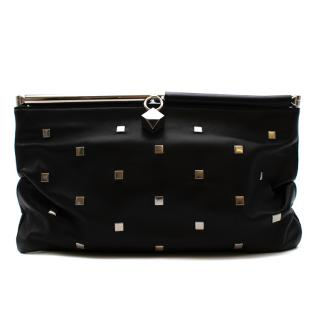 Jimmy Choo Black Studded & Crackled Patent Leather Clutch