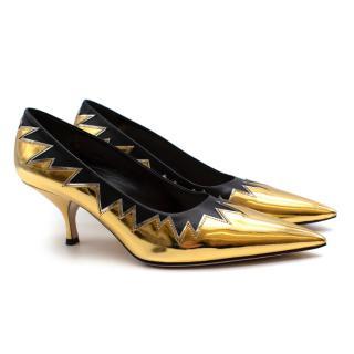 Miu Miu Gold and Black Mirrored-leather Pumps