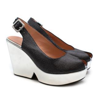 Robert Clergerie Dylan Leather Silver Platform Sandals