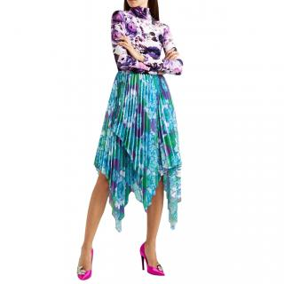 Richard Quinn Runway Blue & Purple Floral Pleated Skirt