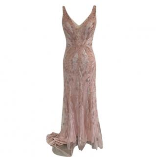 Jenny Packham Pink Sequin Tulle Embroidered Gown