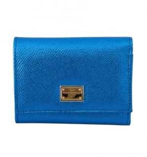 Dolce & Gabbana Metallic Blue LEather French Flap Wallet