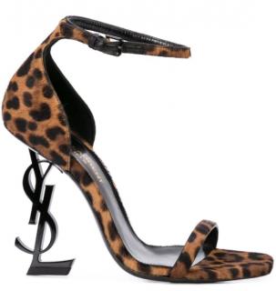 Saint Laurent Opyum 110 Leopard Calf Hair Sandals