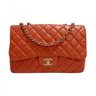 Chanel Red Quilted Lambskin Classic Jumbo Single Flap Bag