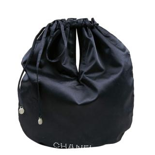 Chanel Navy Satin Logo Drawstring Pouch