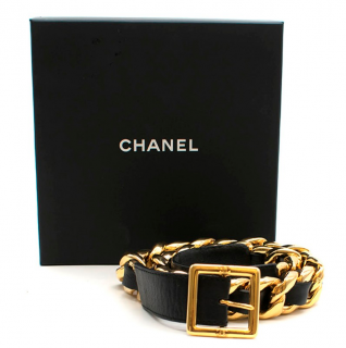 Chanel Vintage Gold Plated Leather Chain Belt