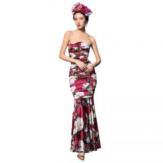 Dolce & Gabbana Silk Floral Print Strapless Fitted Dress