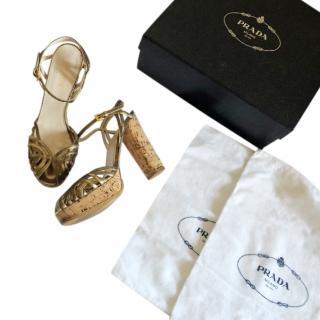 Prada Gold Leather Strappy Cork Heel Sandals