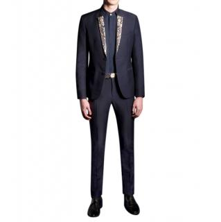 Advani Blue/Gold Mohair Brocade Tailored Suit