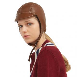 Burberry Brown Cashmere/Wool Lined Calfskin Pilot Cap