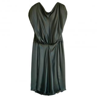 Alberta Ferretti Olive Silk Draped Dress