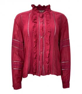 Isabel Marant Etoile Red Georgette Top