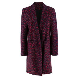 Christopher Kane Red Leopard Print Wool Coat