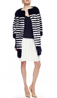 Marc Jacobs Navy & White Striped Rabbit Fur Coat