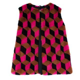 Michael Kors Pink Brown & Black Geometric Mink Fur Gilet