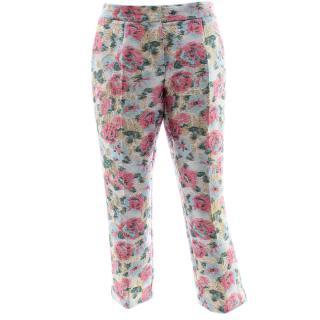 Dolce & Gabbana Rose Jacquard Blue Pants