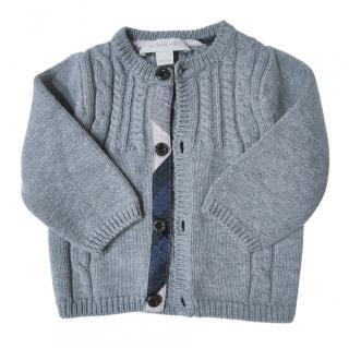 Burberry Kids Grey Wool Blend Cardigan