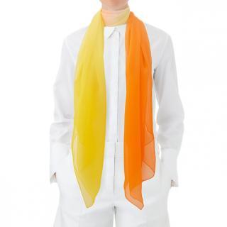 Hermes Artisanal Sunrise Muffler in silk muslin