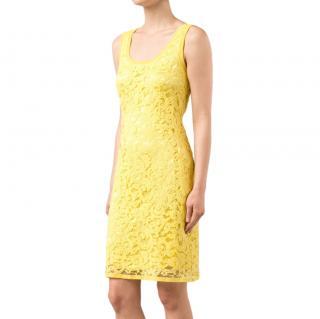 Alberta Ferretti Yellow Lace Sleeveless Dress