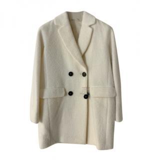 Max Mara White Wool Double Breasted Coat