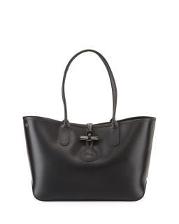Longchamp Black Leather Roseau Large Tote Bag