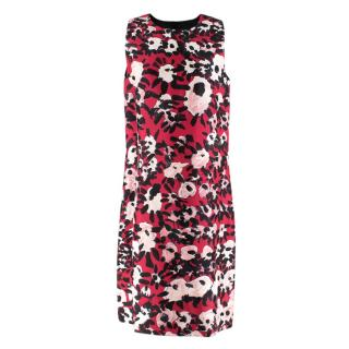 Marni Red Abstract Floral Print Cotton & Silk Blend Dress