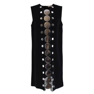 Christopher Kane Silver Embellished Black Shift Dress