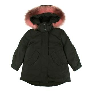 Moncler Green Fox Fur Trimmed Hooded Down Jacket