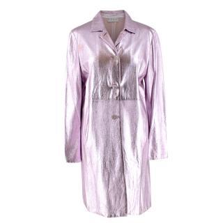 Marni Pink Metallic Leather Overcoat