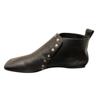 Celine Black Nappa Leather Studded Flat Booties