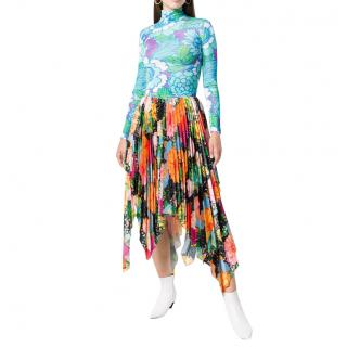 Richard Quinn Runway Floral Asymmetrical Pleated Skirt
