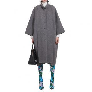 Balenciaga Grey Wool Paneled Cristobal Coat