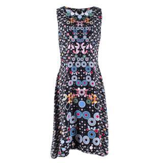 Peter Pilotto Black Floral Print Sleeveless Dress